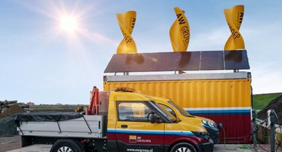 Windwokkel-van-composiet-duurzame-unit-bouwplaats_AW-Groep-GreenHybrids-Holland-Composites