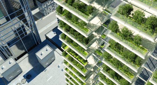 Voorbeeld hoge woningbouw met balkons - uitvoerbaar in Duplicor brandwerend composiet