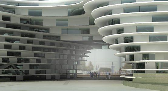 Rendering: architectonische vormgevingsvrijheid voor gebouwen - mogelijk met Duplicor biobased brandwerend composiet