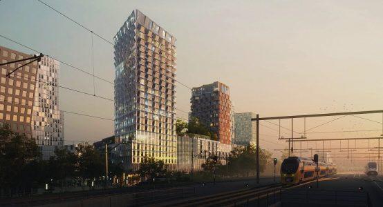 Impressiebeeld van een nog te bouwen kantoortoren in Amsterdam - met raamelementen van Duplicor biobased brandwerend composiet