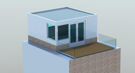 Rendering van een extra verdieping bovenop een bestaande particuliere woning – de voordelen van composiet ten opzichte van beton zijn het lichte gewicht en de isolerende eigenschappen
