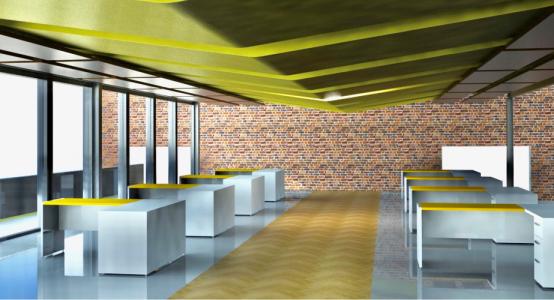 Rendering: lichtgewicht vloerconstructie van Duplicor biobased brandwerend composiet - kantooromgeving in een monumentaal gebouw