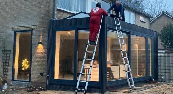 Uitbouw van Duplicor biobased brandwerend composiet – woning in Heiloo, Noord-Holland