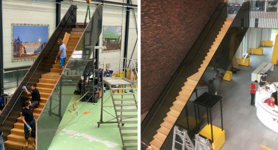 Carbon-trap-hoofdkantoor-Teijin-Aramid-productie-en-plaatsing-Holland-Composites